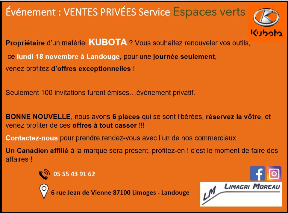 Événement : VENTES PRIVÉES Service Espaces verts